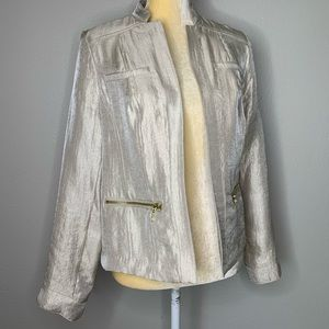 Chicos Gold Shimmer Open Soft Jacket 0